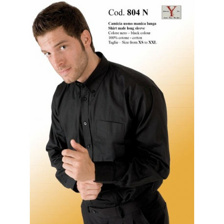 best service 32142 0f589 camicia nera uomo manica lunga 100 % cotone